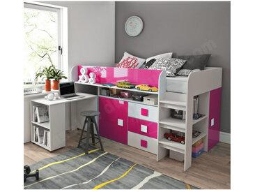Lit combiné enfant 90x200 avec bureau et rangements , Gamme dream Blanc et Rose Brillant