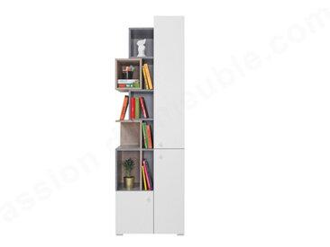 Bibliothèque enfant en bois, 3 portes, 9 niches, Gamme elche Beton, Blanc et Chêne