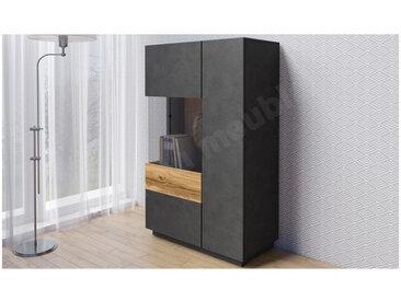 Vaisselier en bois, 1 porte, 1 porte vitrée a gauche, 4 étagères, Gamme florence Noir