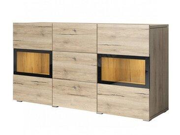 Buffet en bois melamine et verre en chene,, portes vitrees,, tiroirs, LED, Gamme Burgos