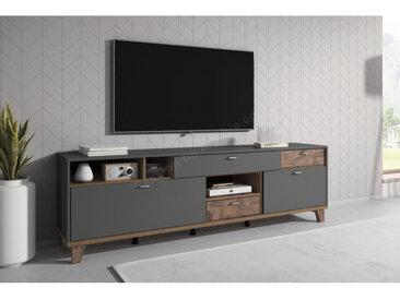 Meuble tv contemporain, large, 3 niches, 5 tiroirs, Gamme nizza Gris et Noyer