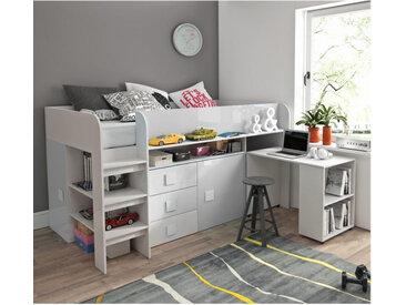 Lit combiné enfant 90x200 avec bureau et rangements blanc , Gamme dream Blanc
