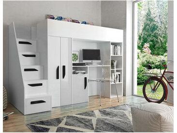 Lit combiné enfant 90x200 avec escalier et rangements blanc , Gamme dream Blanc et poignées noire