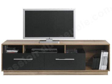 Meuble TV en bois, 2 tiroirs, 3 niches, Gamme Mya Noyer et Noir