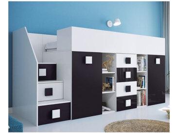 Lit combiné enfant 90x200 avec escalier et bureau , Gamme dream Blanc et Noir Brillant A gauche