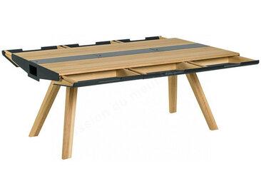 Table a diner en chêne, 6 tiroirs, 3 casiers, plateau en métal, Gamme benidorm