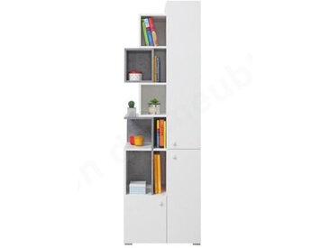 Bibliothèque enfant en bois, 3 portes, 9 niches, Gamme elche Blanc et gris