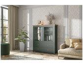 Vaisselier et vitrine haut, 2 portes 2 tiroirs et 4 niches, couleur vert et chêne, Gamme Evovert