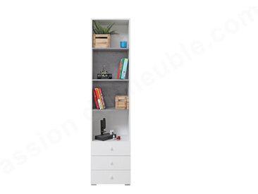Bibliothèque enfant en bois, 4 niches, 3 tiroirs, Gamme elche