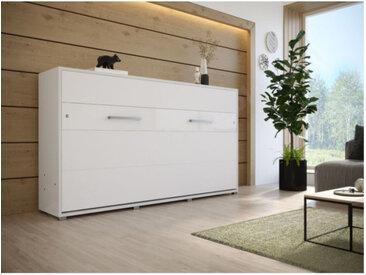 Lit escamotable horizontal 90x200 blanc , Gamme concept Blanc mat et blanc brillant