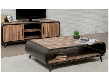Table basse double plateau en teck recycle, rectangulaire, Gamme Avenue