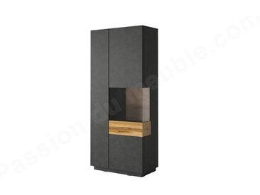 Vaisselier en bois, 2 portes, 8 étagères, 1 niche, Gamme florence Noir