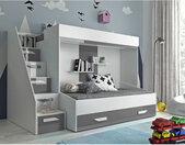 Lit superposé enfant avec tiroir de rangement et esacalier, Gamme dream Blanc et Gris Brillant