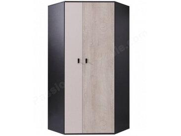 Armoire d'angle enfant en bois blanc, gris et noire, 2 portes, Gamme Porto
