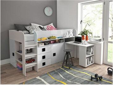 Lit combiné enfant 90x200 avec bureau et rangements blanc , Gamme dream Blanc et poignées noire
