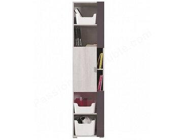Bibliothèque enfant blanc et gris, 1 porte, 6 niches, Gamme evora