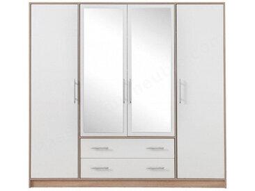 Dressing en bois melamine blanc et chene,, portes,, portes miroirs,, tiroirs, Gamme Nyon