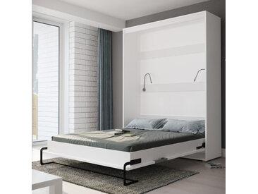 LIT ESCAMOTABLE VERTICAL 160x200 BLANC – GAMME CONCEPT Blanc mat et Gris brillant
