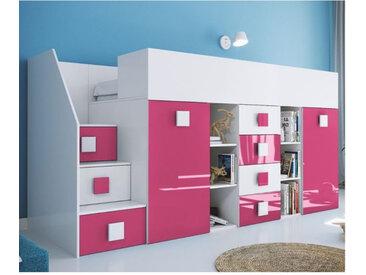 Lit combiné enfant 90x200 avec escalier et bureau , Gamme dream Blanc et Rose Brillant A gauche