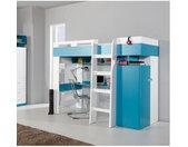 Lit mezzanine enfant en bois blanc et bleu, 1 echelle, espace bureau et rangements, Gamme braga