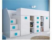 Lit combiné enfant 90x200 avec escalier et bureau blanc , Gamme dream Blanc et poignées Bleu A