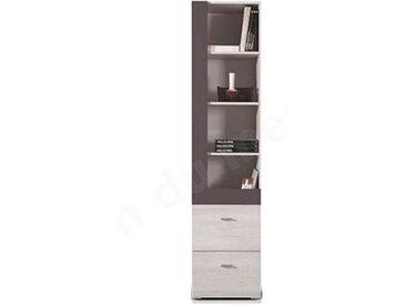 Bibliothèque enfant en bois, 2 tiroirs, 4 niches, Gamme evora Blanc et gris