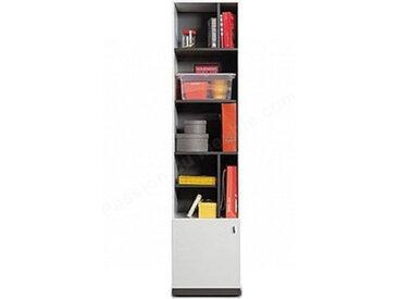 Bibliothèque enfant en bois blanc et gris, 1 porte, 6 niches, Gamme lagos