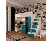 Lit combiné enfant 90x200 avec escalier et rangements , Gamme camy Blanc et turquoise mat