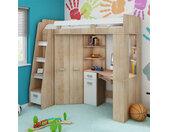 Lit mezzanine enfant en bois, espace bureau et rangements, 1 échelle, Gamme gramsh Chêne et blanc