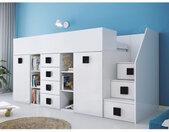 Lit combiné enfant 90x200 avec escalier et bureau blanc , Gamme dream Blanc et poignées noire A
