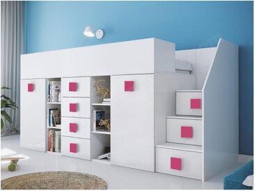 Lit combiné enfant 90x200 avec escalier et bureau blanc , Gamme dream Blanc et poignées Rose A