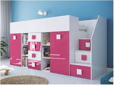 Lit combiné enfant 90x200 avec escalier et bureau , Gamme dream Blanc et Rose Brillant A droite