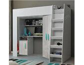 Lit combiné enfant 90x200 avec bureau et armoire blanc, Gamme dream 13 Blanc et poignées turquois
