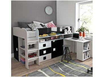 Lit combiné enfant 90x200 avec bureau et rangements , Gamme dream Blanc et Noir Brillant