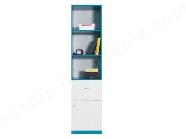 Bibliothèque enfant blanc et bleu en bois, 1 tiroir, 1 porte, 3 niches, Gamme braga