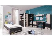 Bibliothèque enfant en bois, 3 tiroirs, 4 niches, Gamme porto Bleu, blanc et chêne