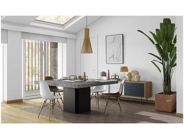 Table à manger design 150x150 cm, finition chocolat, Gamme Dusk Blanc brillant 150 cm / 8 personnes