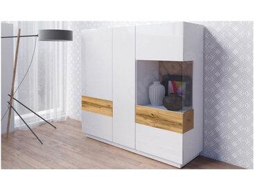 Vaisselier en bois, 2 portes, 1 porte vitrée, 6 étagères, Gamme florence Blanc