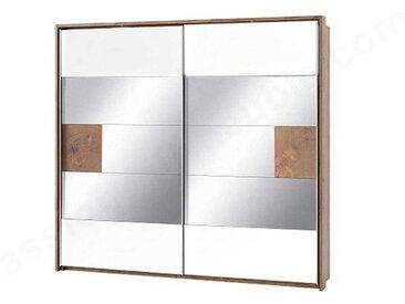 Dressing en bois,, portes miroirs coulissantes, LED, Gamme Davos