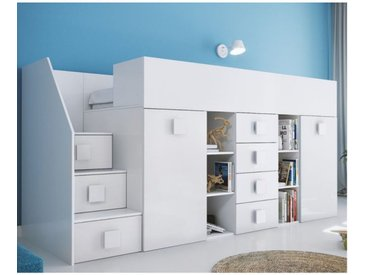 Lit combiné enfant 90x200 avec escalier et bureau blanc , Gamme dream Blanc A gauche