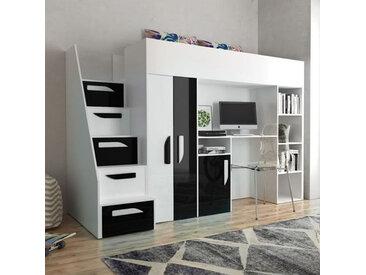 Lit combiné enfant 90x200 avec escalier, bureau et rangements , Gamme dream Blanc et Noir Brillan