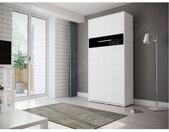 Lit escamotable vertical 120x200 blanc , Gamme concept Blanc mat et noir brillant
