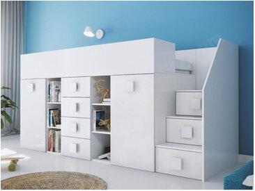 Lit combiné enfant 90x200 avec escalier et bureau blanc , Gamme dream Blanc A droite