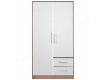 Dressing en bois melamine blanc et chene,, portes,, tiroirs, Gamme Nyon