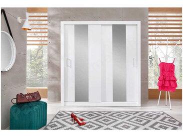 Dressing en bois blanc,, portes miroirs coulissantes, 200 cm, Gamme Olten