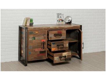 Buffet en teck recycle,, portes,, tiroirs, Gamme Atelier