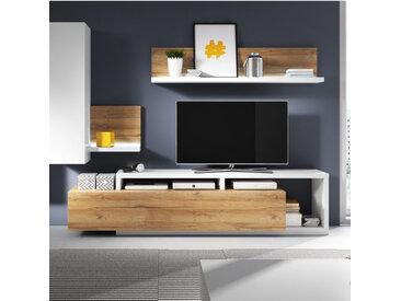 Meuble TV design, grand tiroir, Gamme Evo Chêne et blanc