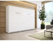 Lit escamotable horizontal 120x200 blanc , Gamme concept Blanc mat et blanc brillant