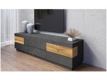 Meuble tv en bois, 6 tiroirs, Gamme florence Chêne et noir