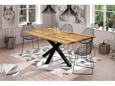 Table à diner en chêne, un pied croisé en métal, Gamme Parme 160 x 90 cm / 6 personnes